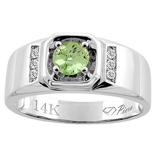 14K White Gold Natural Peridot Men's Ring Diamond Accented 5/16 inch wide, size 12