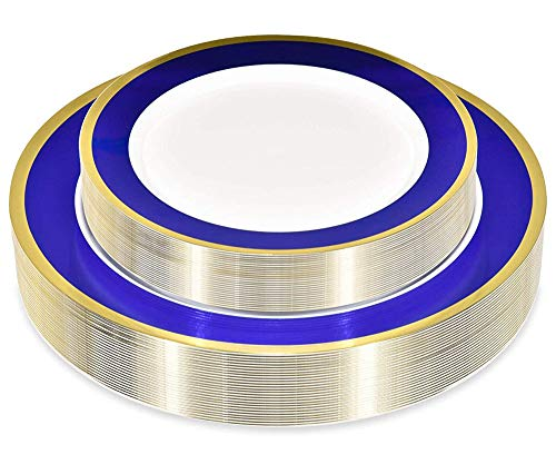 50 Piece Disposable Plates with Blue and Gold Rim - Heavy Duty Plastic Dinnerware for Weddings and Parties - Includes 25 Dinner Plates and 25 Dessert Plates