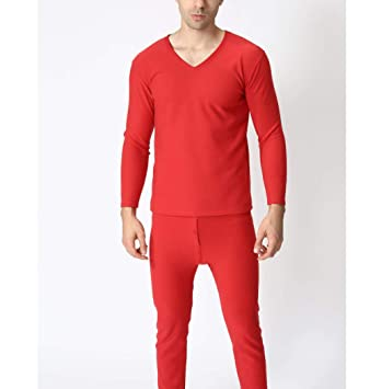 SGJKG Tallas Grandes otoño Invierno Hombres Ropa Interior térmica más Gruesa Hombres Largos Trajes cálidos Suaves Camisa Pantalones Conjunto: Amazon.es: Deportes y aire libre