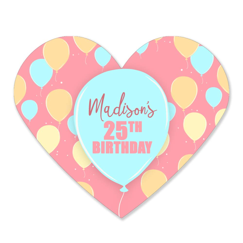 Pastel Balloons Birthday Heart Glossy Stickers