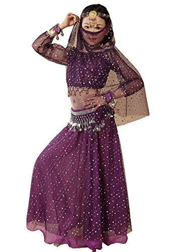 [Astage Girl`sElegant Belly Dance Set Siver Waist Chain Purple L] (Purple Belly Dance Costume)