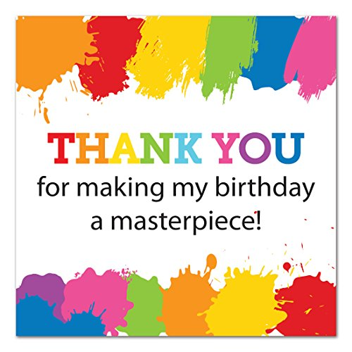 40 Paint Splash Birthday Thank You Stickers - Art Birthday Favor Stickers - 2