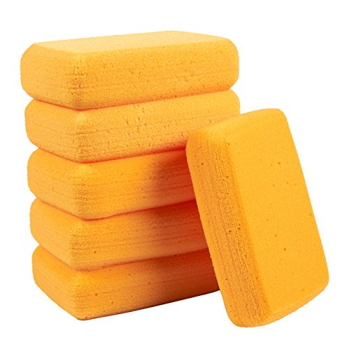 Blue Panda Pack of 6 Synthetic Sponges - Large Craft Sponges - Ideal for Painting, Crafts, Pottery, Clay, Household Use, 7.5 x 2 x 5 Inches, Orange