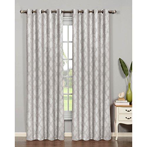 Bella Luna Newbury Lattice Room Darkening 76 x 84 in. Grommet Curtain Panel Pair, Light Grey