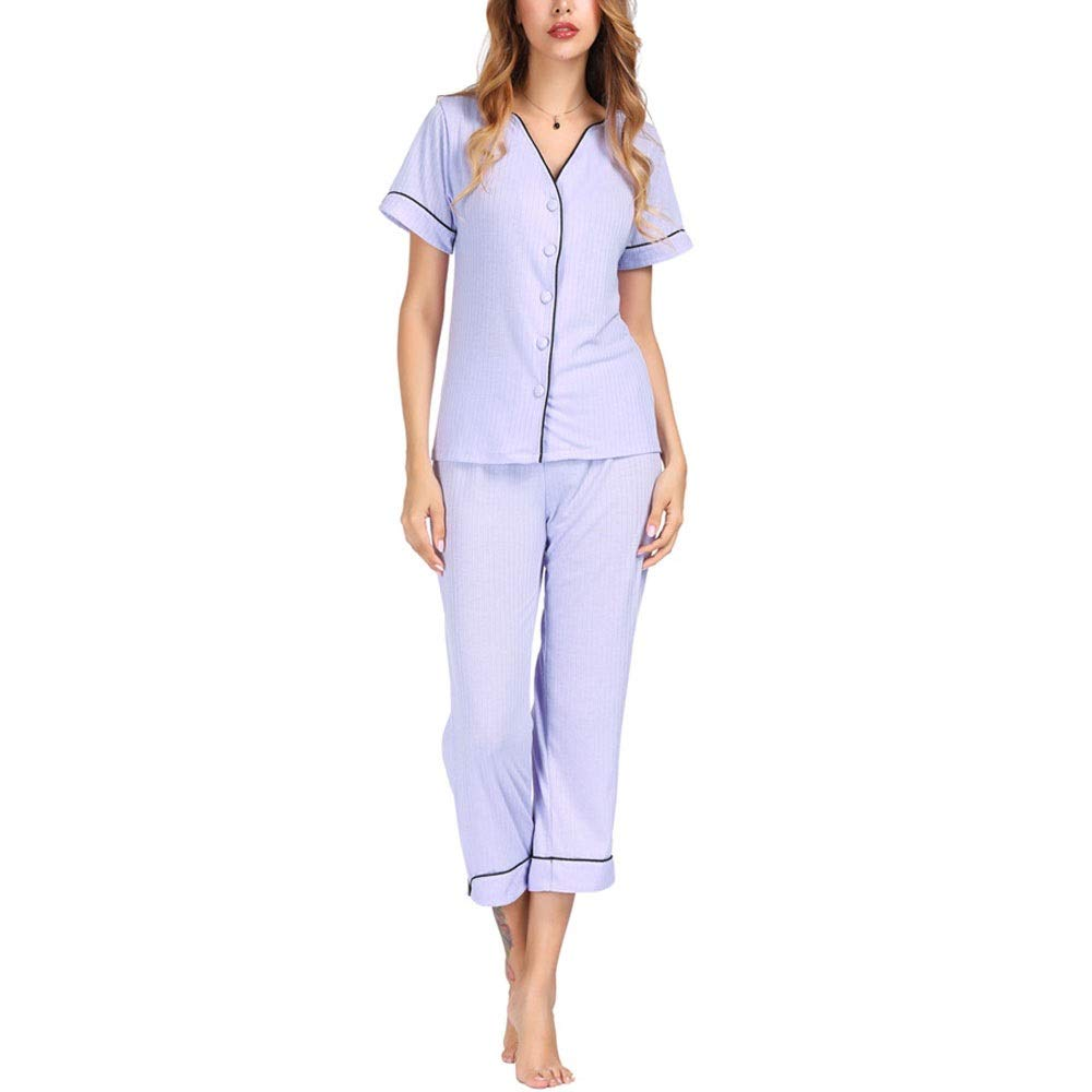 bluee Pajama Sets for Women, Ladies Pyjama Sets Women Cotton Sleepwear 2 Pieces Nightwear Pyjama ButtonDown Set Thickened (color   bluee, Size   M)