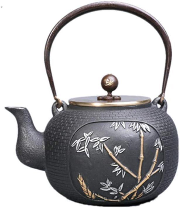Tetera de hierro fundido Cocina de quemadores Caja de seguridad japonesa caldera de té 1200ml grande de hierro fundido Pote del té for estufa de leña Estufa de retención cocina de inducción y gas Temp