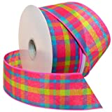 50 yard wired ribbon - Morex Ribbon Color Chic Plaid Wired Fabric Ribbon, 2 1/2-Inch by 50-Yard Spool, Pink/Turquoise