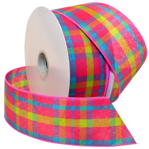 Morex Ribbon Color Chic Plaid Wired Fabric Ribbon, 2 1/2-Inch by 50-Yard Spool, Pink/Turquoise - Plaid Wired Ribbon