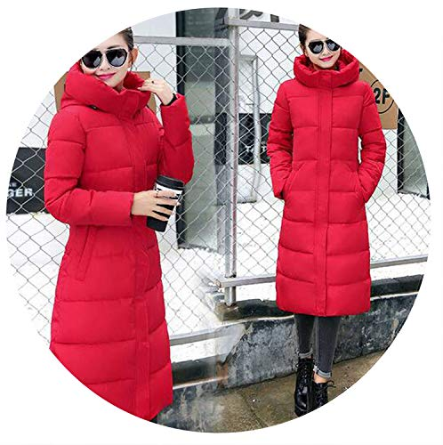 Women Winter Coat Cotton-Padded Jacket Warms Female Plus Size Jackets Hooded Thickening,red,XXL