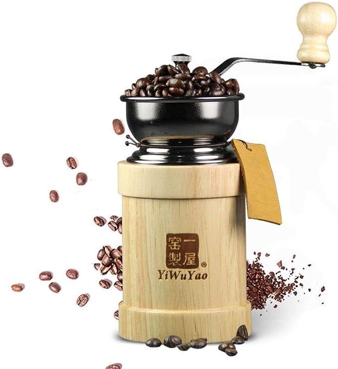 Fighrh Molinillo de café de madera de caucho italiano vintage con estilo creativo Molino de grano de café molido Máquina de café Molinillo de molino con molinillo de mano Máquina de café