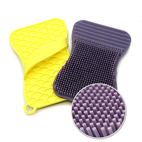 Dish Mold (Silicone Sponge and Scrubber for dish, kitchen and bathroom cleaning – Extra Size Brush, Antibacterial, Heat Resistant, Odor and Mold Free   2 Pack Violet/Yellow)