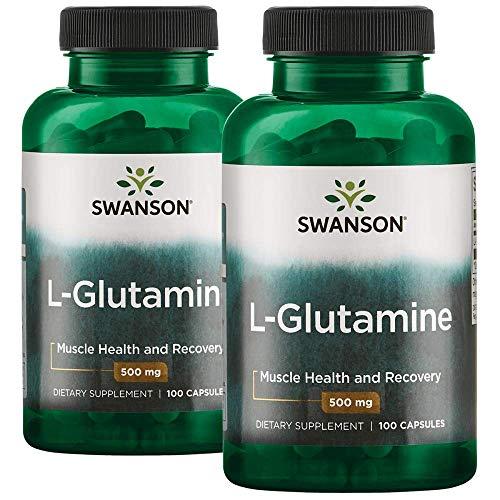 Swanson Amino Acid L-Glutamine 500 Milligrams 200 Capsules 2 Bottles