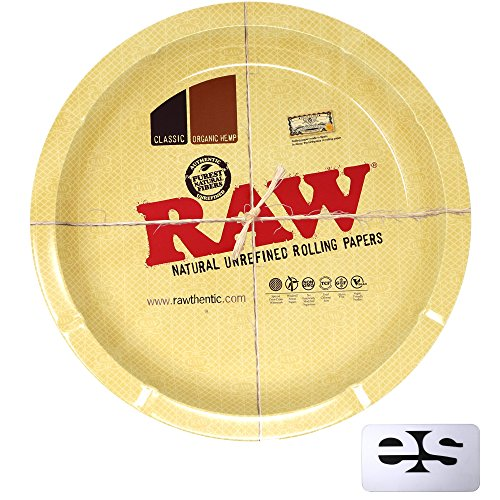 RAW Round Metal Rolling Tray with ESD Scoop Card by RAW