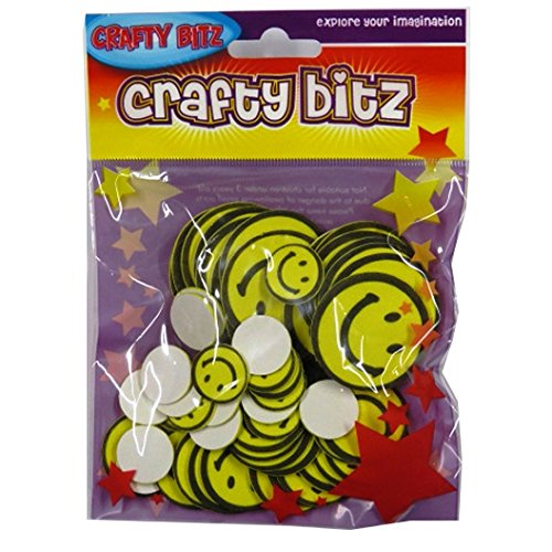 CRAFTY BITZ Foam Craft Eva Shaped Stickers - Smiley Faces, Pack of 55