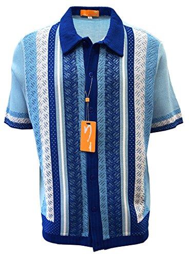 Edition S Men's Short Sleeve Knit Shirt- California Rockabilly Style: Diamond Plate Design- 3008 (Large, - Style Mens California