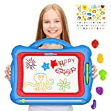 Magnetic Drawing Board For Kids with 5 Shape Stamps and Lovely Sticker - Erasable Big Size Colorful Magna Doodle Drawing Board Toys for Kids Writing Sketching Pad - Gift set