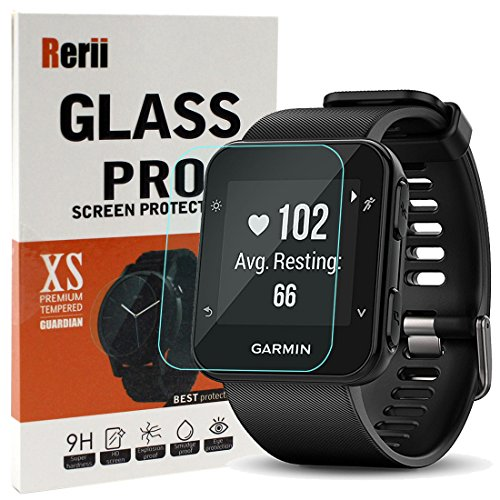 Garmin Forerunner 35 Screen Protector, Rerii Tempered Glass Screen Protector for Garmin Forerunner 35, High Definition, 9H Hardness, 0.3mm Thickness, Real Glass Screen Protector