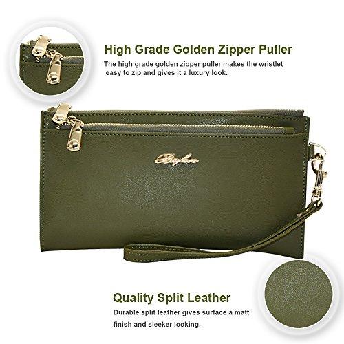Befen mujeres suave cuero pulsera móvil embrague cartera con correa de muñeca desmontable Smartphone bolso para el iPhone 7 / 6s / 6 más, iPhone 7 / 6s / 6 / 5s-Azul Marino verde oliva