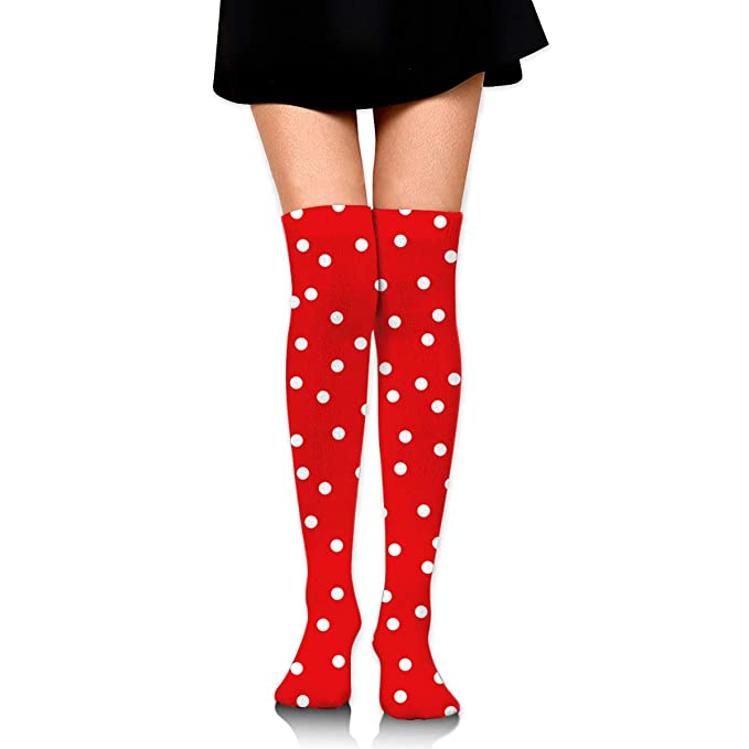 04535fdeb85 Amazon.com  Knee High Socks Red-White Dot Long Socks Boot Stocking  Compression Socks For Women  Clothing