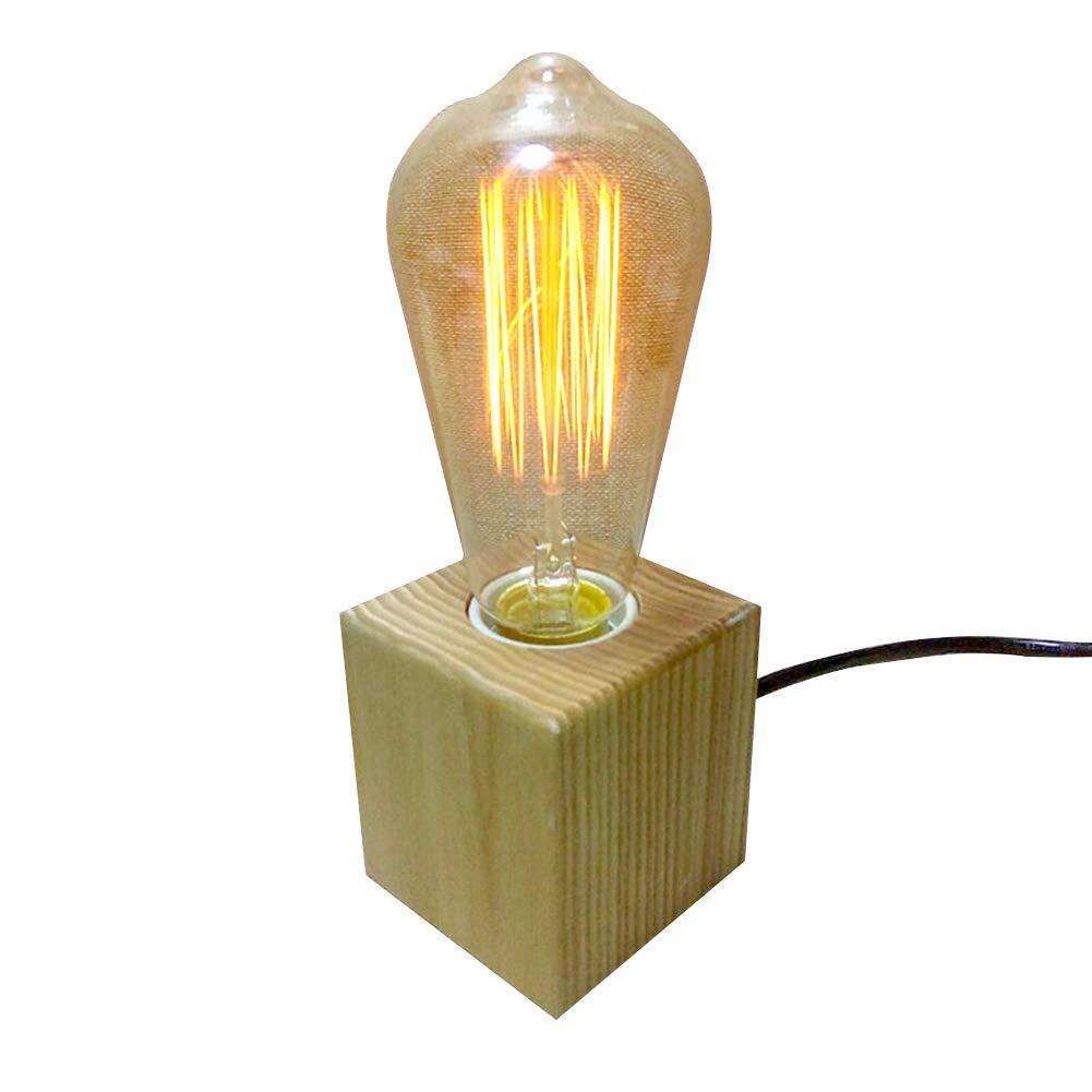 Hsyile KU300112 Lighting Vintage Industrial Table Light Edison Bulb Wooden Desk Lamp(Wood)