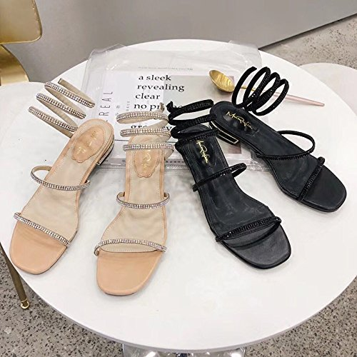 Summer Sandals Red Female Fairy Winding Sandals with Shoes Dew Heel Net negro Toe Diamond JUWOJIA Around IqESpp