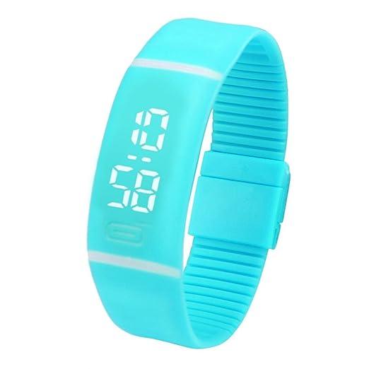 QinMM Reloj digital Pulsera deportiva de silicona, con pantalla LED, para correr running, para mujer y hombre, unisex (Cielo azul): Amazon.es: Relojes