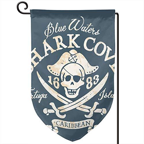 lsrIYzy Garden Flag,Shark Cove Tortuga Island Caribbean Waters Retro Jolly Roger,12.5x18.5 inch