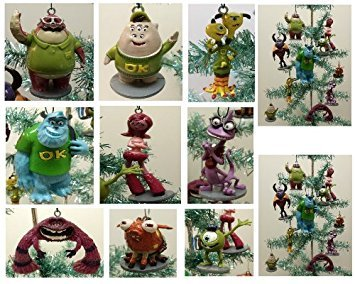 Monsters University Holiday Christmas Tree Ornament Set Featuring Sulley, Mike Wazowski, Randy, Terry & Terri, Don, Art, Squishy, Johny, Carrie, Archie the Scare Pig - Shatterproof Plastic Ornament Figures Range ()