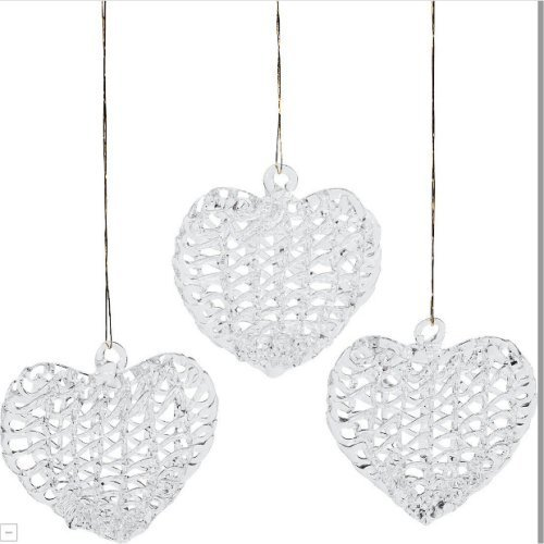 12 Glass Heart Ornaments