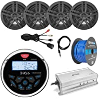 21 - 29 Pontoon Boat Marine System: Boss Bluetooth Receiver, 4 x 6.5 Water-Resistant Speakers (Black), 4-Channel Amplifier, 50Ft Speaker Wire, Radio Antenna - 40, USB Aux Interface Mount