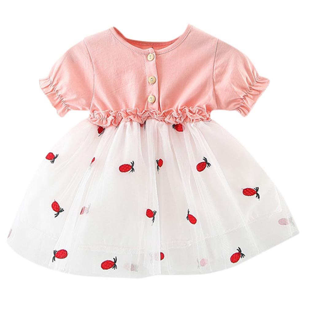 Baby Girls Sundress,Fineser Infant Girls Short Sleeve Pineapple Embroidery Patchwork Tulle Ruffles Princess Dresses