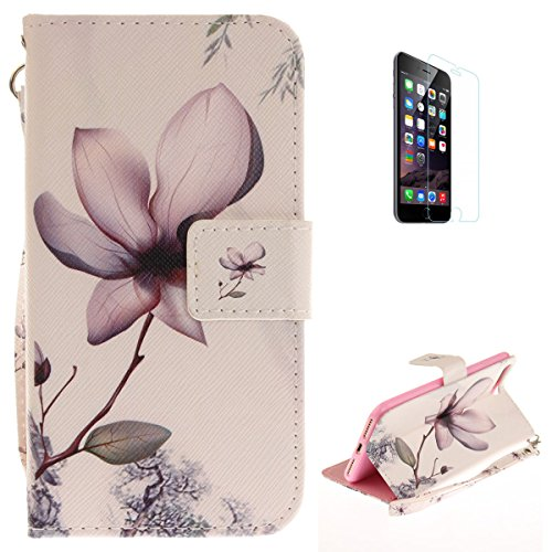 (iPhone 7 Plus/8 Plus Flip Magnetic Leather Case [Free Screen Protector] KaseHom Elegant Magnolia Flower Painted Design Folio Wallet Case with [Card Slot] [Hand Strap] Slim Protective Cover)