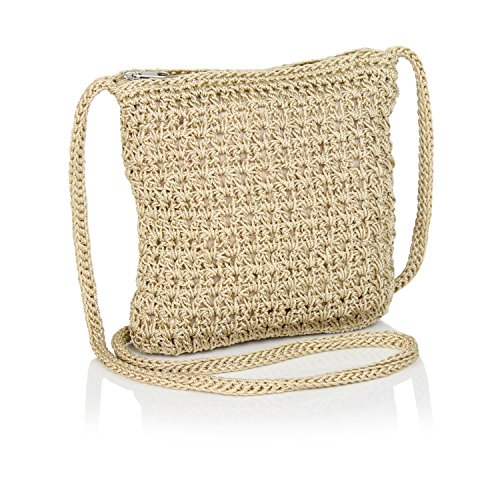 (Boho Crochet Crossbody Handbag, Organizer Sling Bag, Small Crocheted Hippie Purse (Tan))