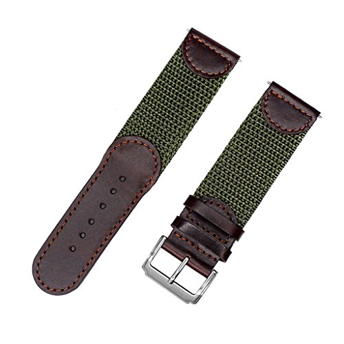 IVAPPON Men's Calfskin Leather and Nylon NATO Watch Strap Swiss-Army Style Watch Band (24mm, Brown and Olive)
