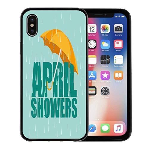 Semtomn Phone Case for Apple iPhone Xs case,Orange Spring Umbrella in The Rain April Showers Green Raindrop Rainy for iPhone X Case,Rubber Border Protective Case,Black]()