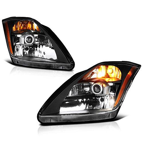 VIPMOTOZ Black Housing OE-Style Projector Headlight Headlamp Assembly For 2003-2005 Nissan Z33 350Z Fairlady Xenon HID Model, Driver & Passenger Side