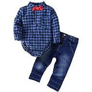[Sponsored]BIG ELEPHANT Baby Boys' 2 Piece Shirt Pants Clothing Set with Bowtie G24