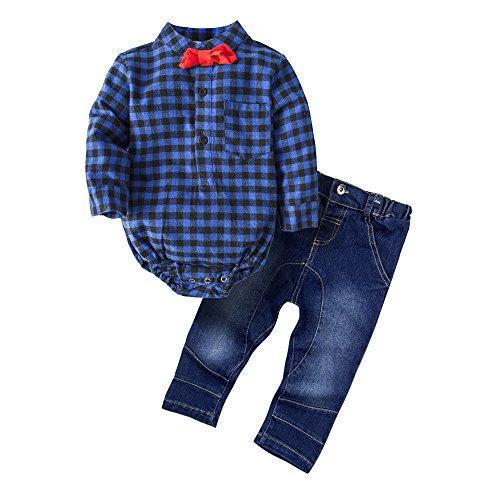 ys' 2 Piece Gentle Tomper Pants Set with Bowtie G24-Blue ()