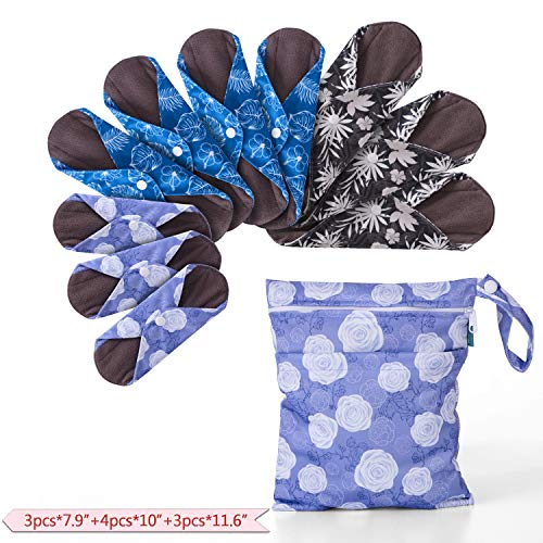 """Teamoy 10pcs Cloth Panty Liners, Reusable Sanitary Pads with Wet Bag, Washable Cloth Menstrual Pads with Charcoal Absorbency Layers (Plant Styles, 3pcsx7.9""""Purple+4pcsx10""""Blue+3pcsx11.6""""Brown)"""