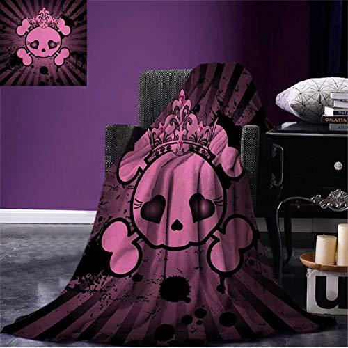 Anniutwo Skull Throw Blanket Cute Skull Illustration with Crown Dark Grunge Style Teen Spooky Halloween Print Soft Pink Black W80 x L60 inch