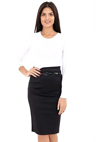 44e84159b2 RM Fashions Women s Below the Knee Belted Pencil Skirt for Office Wear  (Small-2XL) at Amazon Women s Clothing store