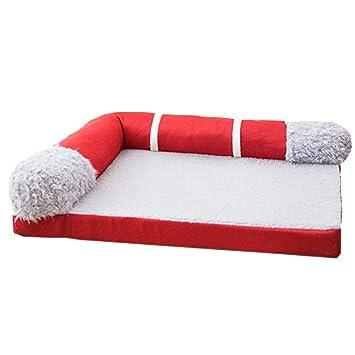 Cama perro Cama Grande para Mascotas Snuggle: sofá ortopédico de Lujo para colchones de Mascotas para Perros y Gatos, Rojo (Tamaño : L 100×80×17cm): ...