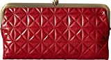 Hobo Womens Leather Vintage Lauren Quilted Embossed Clutch Purse (Cardinal)