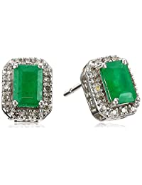 10k White Gold Genuine Emerald Octagon Cut with Diamond Fashion Earrings