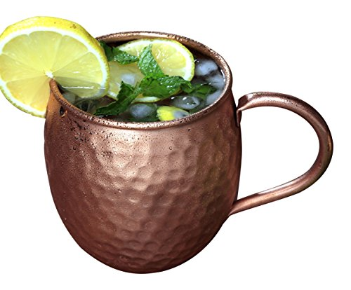 Melange Copper Barrel Mug for Moscow Mules - 24 oz - 100% Pure Hammered Copper - Heavy Gauge - No lining - Includes FREE Recipe book