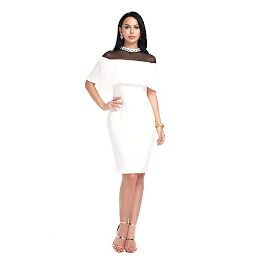 684811cda4cf FLORHO Women's Lace Patchwork Half Sleeve Bodycon Solid Sexy Midi Dresses  White L