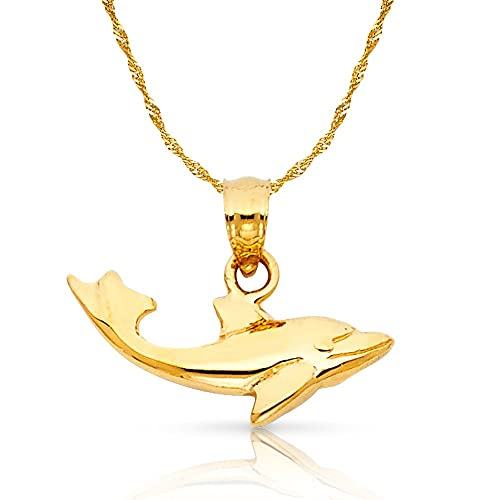 14K Two Tone Gold Dolphin Charm Pendant with 1.8mm Singapore Chain Necklace