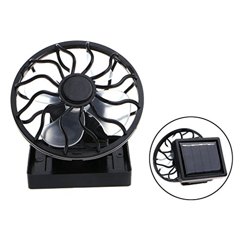 Itemap Mini Portable Clip-On Solar Panel Powered Cooling Fan for Travel Camping Fishing (Square)
