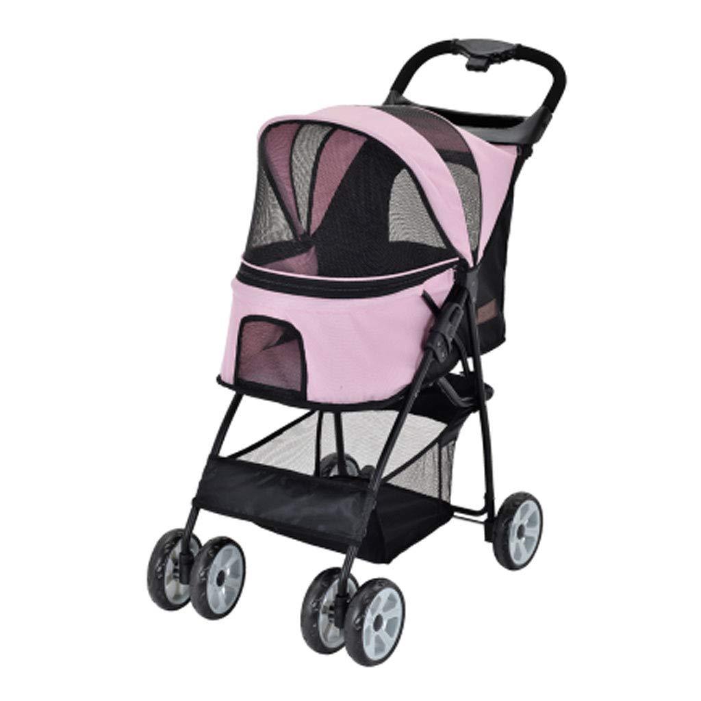 PINK Pet Stroller Dog Seat Belt Stroller Cat Three-Wheeled Cart Cat and Dog Multi-pet Troller One-Button Sport Car. (color   Pink)
