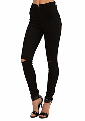 Vibrant Slit Knee High Waisted Solid Jeans White (XX-Large, White)